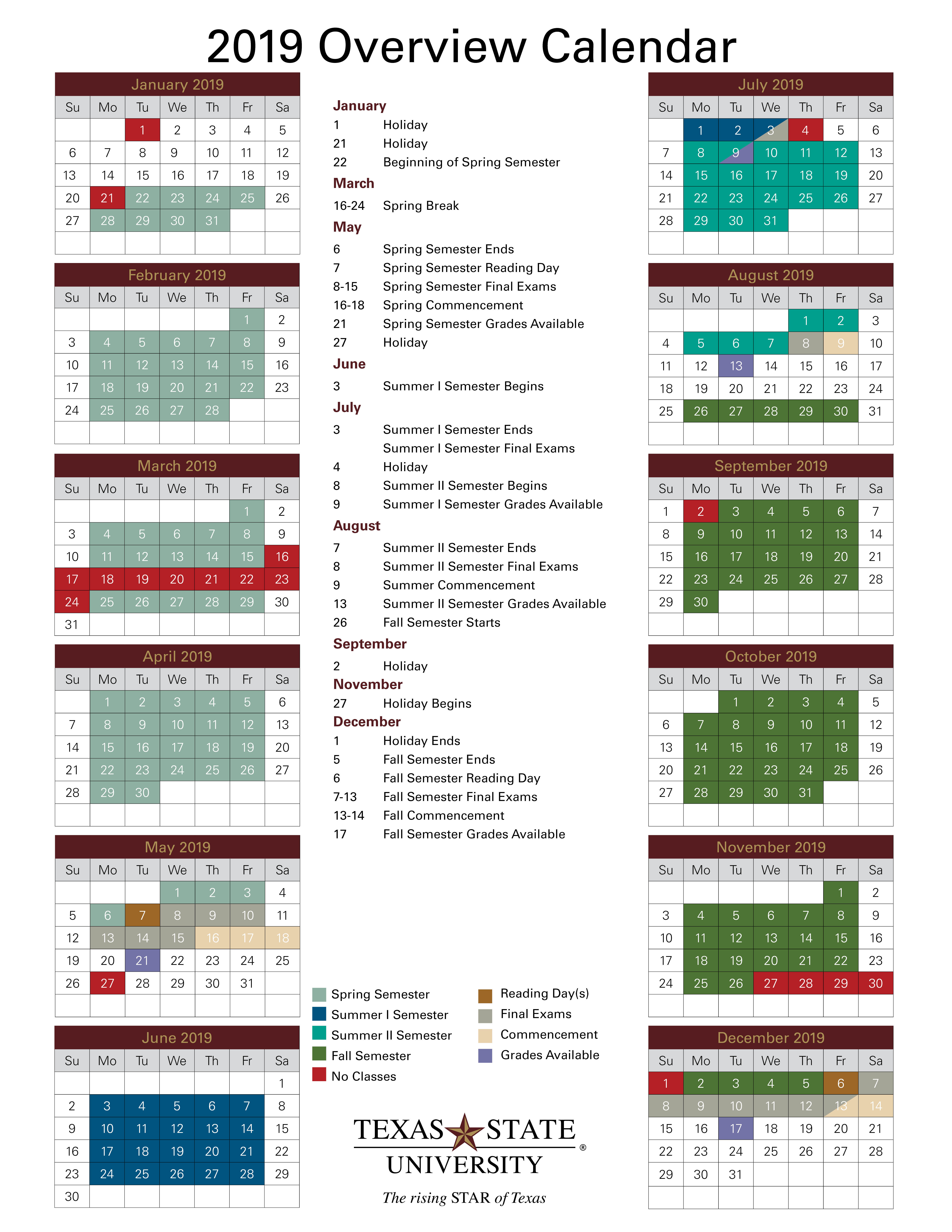 2019 Overview Calendar Image